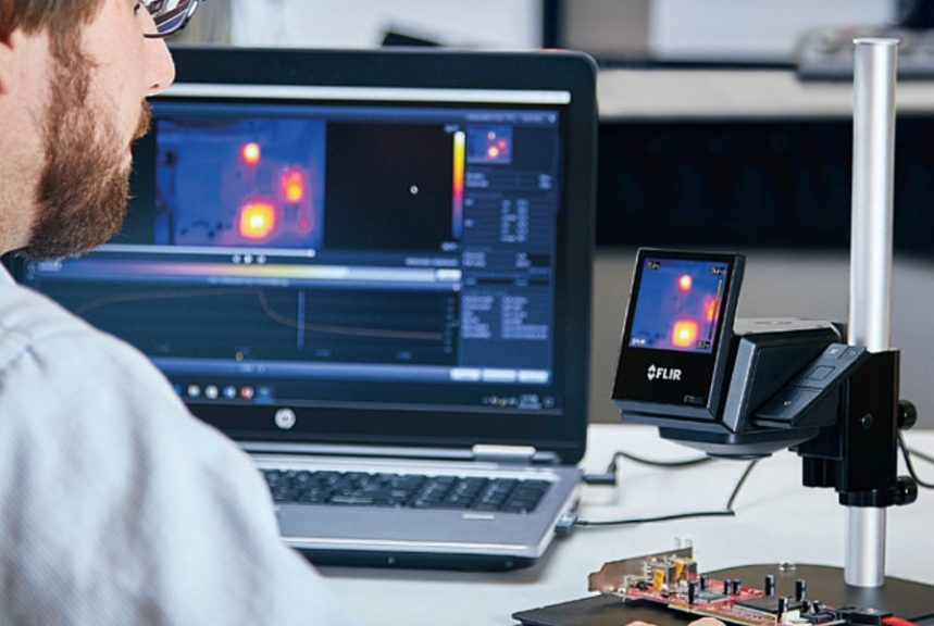 Flir ETS320 infrared system to test the thermal behavior of electronic components