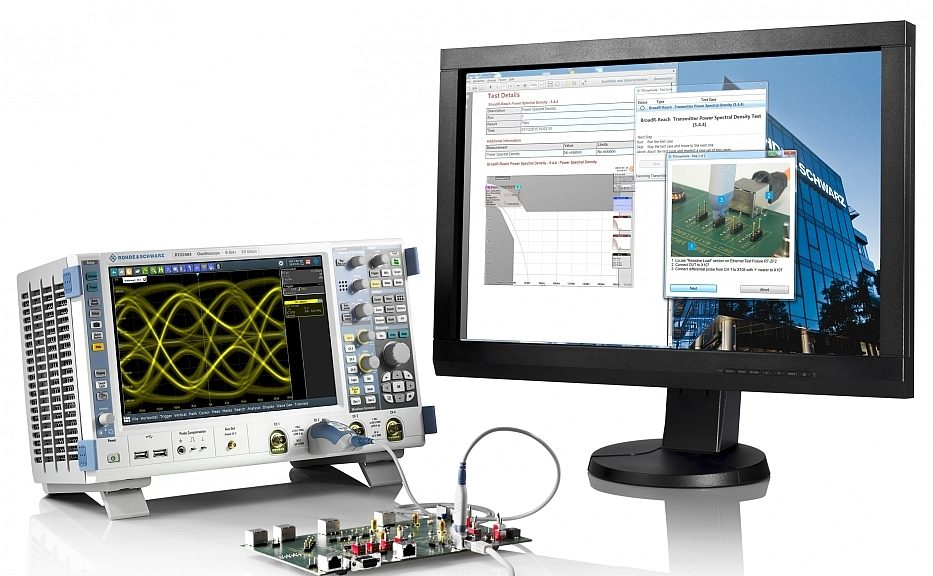 RTO-K87 software option for compliance testing of IEEE 1000Base-T1 with Rohde & Schwarz RTO oscilloscopes