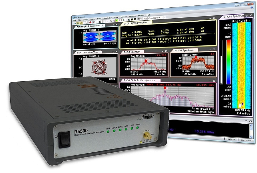 ThinkRF R5500 analyzer connected with the Keysight 89600 VSA software