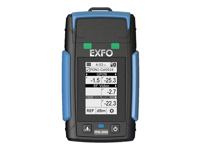 Exfo's PPM-350D wattmeter for passive optical network (PON)