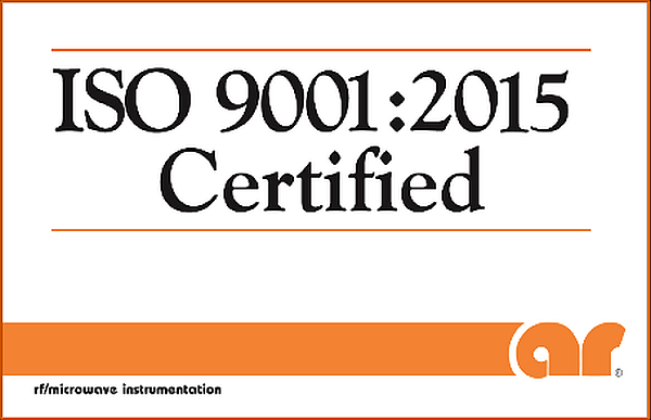 AR RF/Microwave Instrumentation ISO 9001:2015 Certification