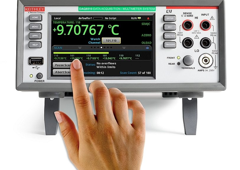 The Keithley DAQ6510 multi-channel test system from Tektronix with up to 80 measurement channels.