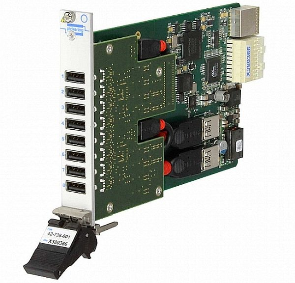PXIe USB 2.0 Hub Module (Model 42-738) from Pickering Interfaces.