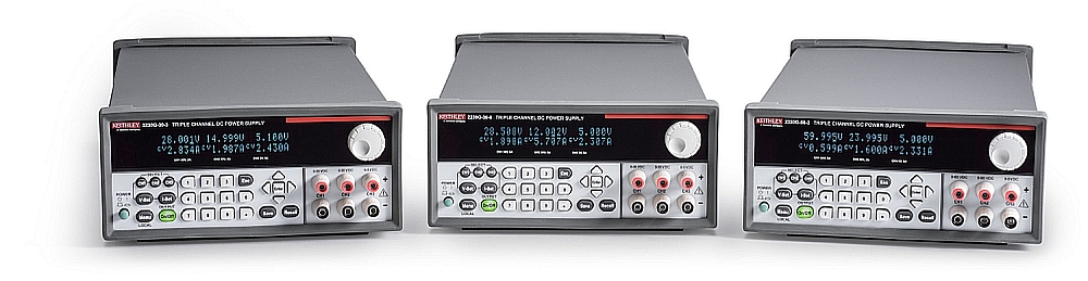 3-Channel programmable power supplies Keithley 2230G series from Tektronix.