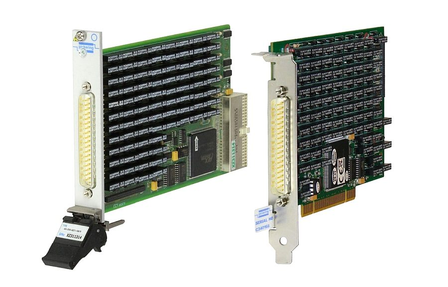 Precision programmable resistor modules in PXI (40-298 series) and PCI (50-298) formats from Pickering Interfaces.
