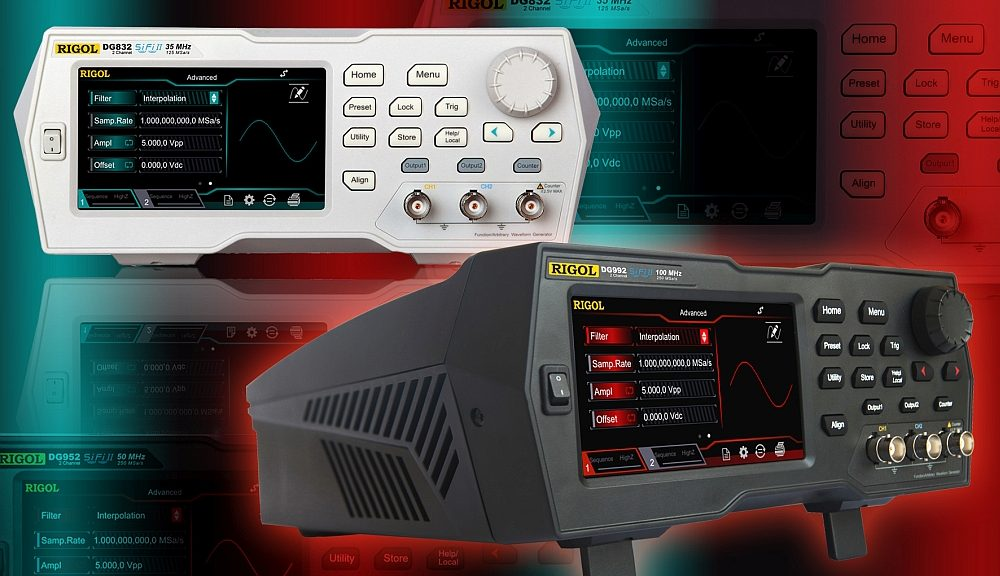 DG800 and DG900 series signal generators from Rigol Technologies.