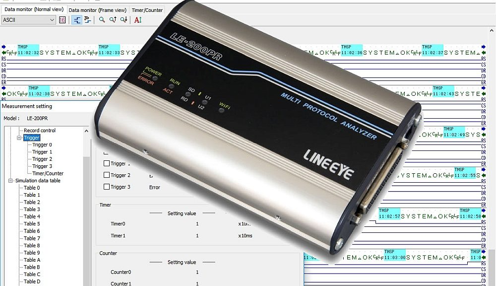 RS-232C, RS-422/485 LE-200PR protocol analyzer from Lineeye