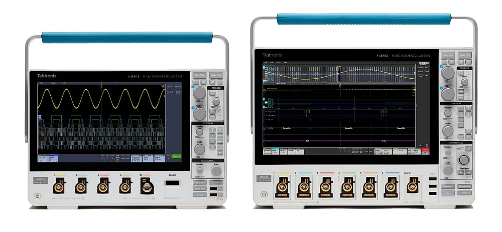 Tektronix 3 Series MDO and 4 Series MSO Oscilloscopes.