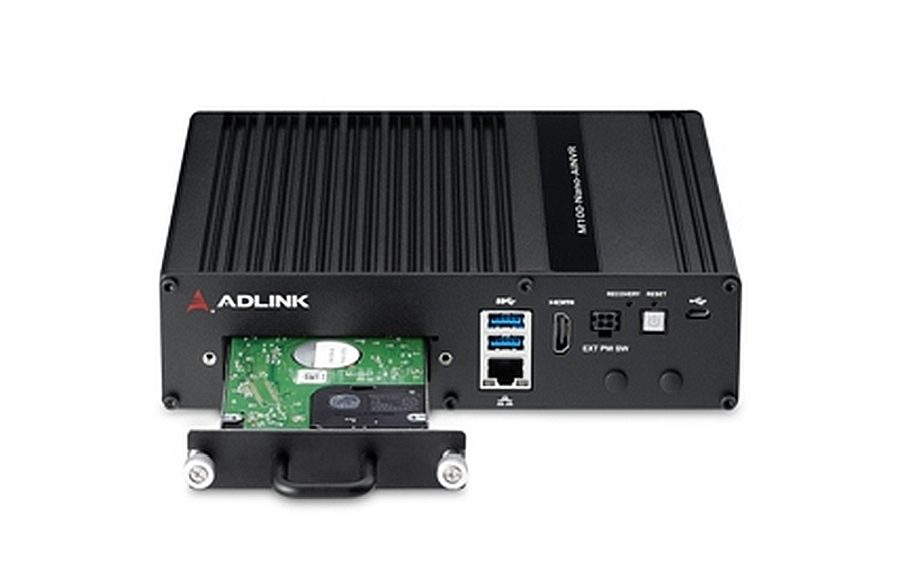 Adlink's M100-Nano-AINVR: a compact multi-channel AI-enabled network video recorder (NVR).