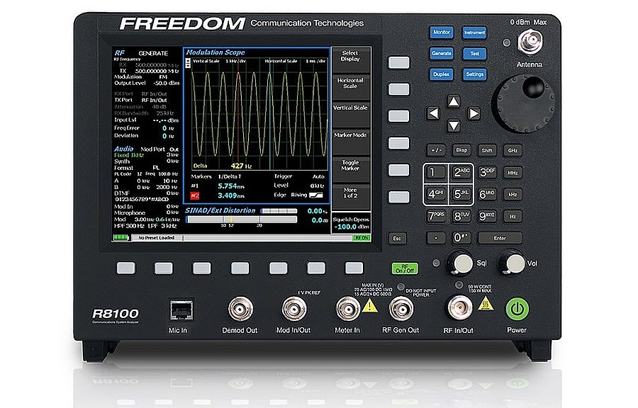 R8100 LMR communication analyzer from Freedom Communication Technologies (FCT).